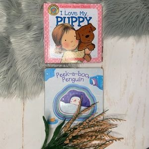 2 Baby Books I Love My Puppy & Peek-a-Boo Penguin